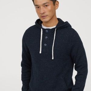 Navy Cotton Sweater Hoodie